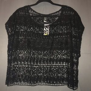 """Unlined, Full Lace, Short Sleeve """"Crop"""" Top"""